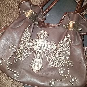 NWOT Brown Cross-Wing Silver Studded Bag
